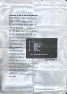 Commodore Format Poke Power Pack instructions.