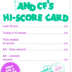 "A Steg The Slug score card from CF21. Rebadged versions of this also appeared on the front of Your Sinclair. But they still forgot the apostrophe in ""week's"". Facepalm! PHOTO CREDIT: Stephen Stuttard."