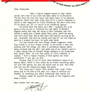 SUBS LETTER, CF15. December 1991. Steve Jarratt and Andy Dyer have gone! Colin Campbell's the new editor, with Paul Lyons replacing Andy. And this is to be the only subs letter Colin will ever send out. Boo.