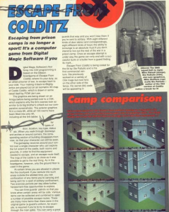 C64 Escape From Colditz was very real and almost complete. Shame about that big swastika at the top of the page, eh? And that picture of the programmers dressed as Nazis. Different times...