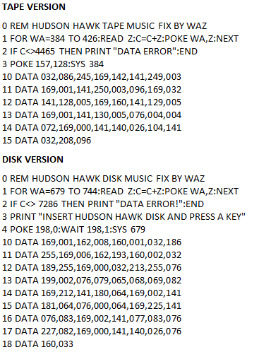 Waz Hudson Hawk type in - tape and disk image